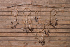 Dreamcatcher With Eagle And Raven Feathers Royalty Free Stock Images