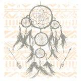 Dreamcatcher en fondo tribal Imagen de archivo