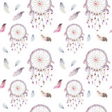 Dreamcatcher and feather pattern. Watercolor bohemian decoration. Watercolour color dream catcher design. Seamless repeating colour boho print. Tribal hand royalty free illustration