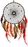 Dreamcatcher. Feathered symbol  illustration  on white Royalty Free Stock Images