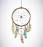Dreamcatcher with feathers and Beaded Thread. Eethnic aztec, dra. Dreamcatcher with feathers and Beaded Thread for catching dreams while sleeping Royalty Free Stock Photo