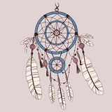 Dreamcatcher, feathers and beads. Native american indian dream catcher, traditional symbol Stock Photo