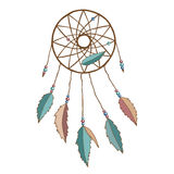 Dreamcatcher. Dreamcatcher with feathers and beads. Raster illustration Stock Photos