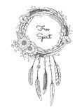 Dreamcatcher with feathers and flowers. Stock Photos