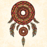Dreamcatcher, feathers. Hand drawn illustration Stock Photography