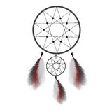 Dreamcatcher with feathers. Native American Indian talisman vector illustration royalty free illustration