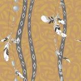 Dreamcatcher feathers vector background pattern. Dreamcatcher ethnic feathers vector background patternn Stock Photos