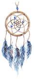 Dreamcatcher feito à mão tribal étnico da pena da aquarela isolado Imagens de Stock