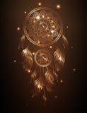 Dreamcatcher i den guld- lutningen, vektorillustration Arkivbilder