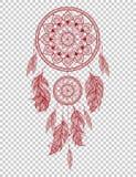 Dreamcatcher indien indigène tiré par la main de talisman avec des plumes Illustration de hippie de vecteur Photo libre de droits