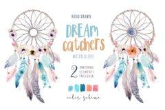 Dreamcatcher isolado do bohemian da decoração da aquarela Feath de Boho Foto de Stock Royalty Free