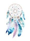 Dreamcatcher isolato del bohemian della decorazione dell'acquerello Feath di Boho illustrazione vettoriale