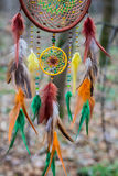 Dreamcatcher made of feathers, leather, beads, and ropes Stock Images