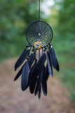 Dreamcatcher made of feathers, pumpkin beads, and ropes. Dreamcatcher made of feathers pumpkin beads and ropes, hanging Royalty Free Stock Image