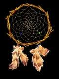 Dreamcatcher med pärlor och fjädrar Royaltyfria Bilder