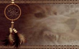 Dreamcatcher met boze wolf Royalty-vrije Stock Afbeeldingen