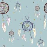 Dreamcatcher-Muster auf einem blauen Hintergrund Stockfoto