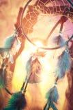 Dreamcatcher na lesie przy zmierzchem Obrazy Stock