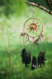 Dreamcatcher. And nature grass background Royalty Free Stock Photos