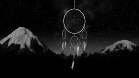 Dreamcatcher on a night sky 3d illustration render