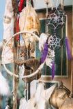 Dreamcatcher och den djura skallen Bakgrund Royaltyfri Foto