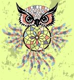 Dreamcatcher owl boho style cartoon character abstract bohemian object feathers.  vector illustration