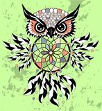 Dreamcatcher owl boho style cartoon character abstract bohemian object feathers.  stock illustration