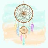 Dreamcatcher, piórka i koralik akwarela, royalty ilustracja