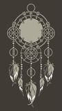 Dreamcatcher Rope. Native American Dreamcatcher protective amulet from the ropes and beads black background Stock Image