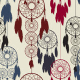 Dreamcatcher seamless. Endless pattern design of dreamcatchers in colors Royalty Free Stock Photography