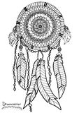 Dreamcatcher. A4 size. Pattern for adult coloring book. Hand drawn design with ethnic, doodle and zentangle elements. Vector Royalty Free Stock Photography
