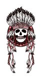 Dreamcatcher and skull. Vector illustration ethnic style. Dreamcatcher and shaman skull decorated with feathers and beads arrows with ribbons Royalty Free Stock Images