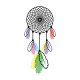 Dreamcatcher. Stylistic dream catcher with multi-colored feathers on white background vector illustration
