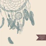 Dreamcatcher tło szczotkarski węgiel drzewny rysunek rysujący ręki ilustracyjny ilustrator jak spojrzenie robi pastelowi tradycyj Zdjęcia Royalty Free