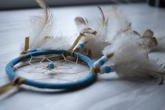 Dreamcatcher on the table royalty free stock photography