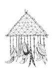 Dreamcatcher tradicional do símbolo dos indianos americanos ilustração stock