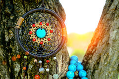 Dreamcatcher on the tree. Selective focus of Dreamcatcher on the tree with green natural blurred bokeh background Stock Images