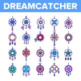 Dreamcatcher tunn linje symbolsupps?ttning f?r amulettvektor royaltyfri illustrationer