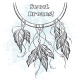 Dreamcatcher vector illustration with feathers Stock Photography