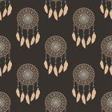 Dreamcatcher wallpaper. Ethno style. Dream catcher wallpaper. Ethnic style. Seamless vector pattern Stock Photos