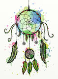 Dreamcatcher watercolor. Hand drawn illustration with colorful dreamcatcher Stock Image