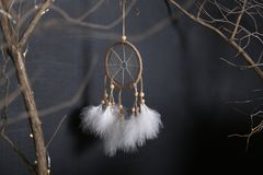 Dreamcatcher with white feathers hangs down from branches against a dark background royalty free stock photography