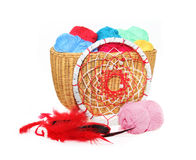 Dreamcatcher and yarn in a basket isolated on a white Royalty Free Stock Image