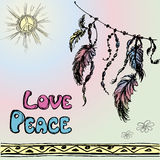 Dreamcatchers  and the words - love, peace Stock Photography