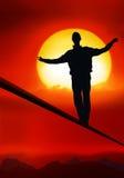 Dreamdancer. Tightrope walker, artist is walking on a tighttrope Royalty Free Stock Photo