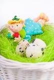 Dreamed fairy on the nest with quail eggs Royalty Free Stock Photos