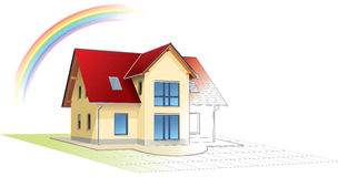 Dreamed home becoming real,rainbow Stock Photo