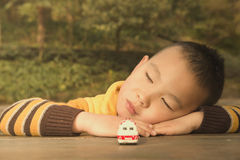 kid dreaming in forest Stock Images