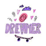 Dreamer. Hand drawn lettering with ice cream, hearts, clouds and skateboard. Royalty Free Stock Images