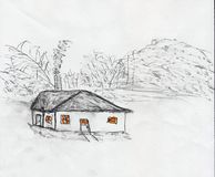 The Dreamer House. Small home in a valley with smoke coming out of the chimney. Nothing around for miles but rolling hills stock illustration